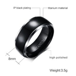 Wholesale Cheap Black Mens Wedding Bands - Mens Titanium Rings Black Men Engagement Wedding Rings Vnox Jewelry USA Size 100% Titanium Carbide Cheap ring spacer jewelry