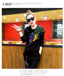 Wholesale Ladies Cotton Black Suits - 2016 Autumn ladies tracksuits Eye Paillette long Sleeve hoodies women 2 pieces set Woman Suit Tide top skirt set women sport tracksuit