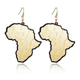 Wholesale Acrylic Ear - Trendy Fashion Gold Acrylic Africa Map Drop Earrings Classic Personality Statement Charm Earrings New Women Ear Jewelry