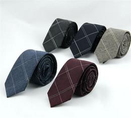 Wholesale Wholesale Wool For Suit - 6cm plaid men's necktie cotton ties man check tie ascot neckwear business suit shirt accessories for men 20pcs lot