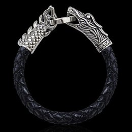 Wholesale Black Vintage Jewelry Set - Braided Genuine Leather Bracelet Stainless Steel Dragon Male Bangles Titanium Steel Fashion Vintage Men's Jewelry