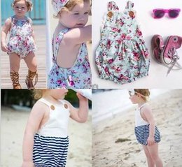 Wholesale Navy Baby Headband - Ins 2016 New Fashion Girl Baby Bodysuits Infant Navy Stripe Floral Buttons Cotton Lace Jumpsuit With Headband 0-4T H029