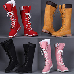 Wholesale Waterproof Long Boots - 2017 Release Autumn Winter Famous Brand Designer Ladies Over Knee Boots Genuine Leather Waterproof Women Long Boots size 36-40