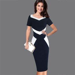 Womens Elegant Optical Illusion Patchwork Contrast 2017 Slim Casual Work Office Business Party Bodycon Pencil Dress Bridesmaid Dress NYC394