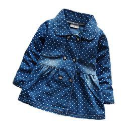 Wholesale Dress Lapel Long Sleeve Princess - Wholesale- Newest Denim Baby Girls Dress Autumn Long Sleeve Dot Dress Baby Girls Robe Fille Lapel Bow Princess Dress For Newborn Clothing