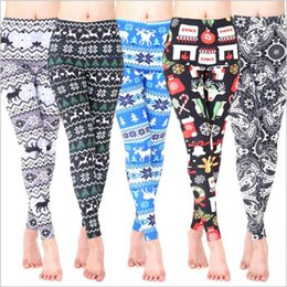 Wholesale Elk Leggings - Christmas Leggings Women Winter Pants Snowman Elk Tights Floral Flowers Slim Jeggings Casual Skinny Trousers Elastic Fashion Leggings B3446