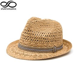421213ed351 Wholesale- INFINITLOVE Summer Fashion Handmade Women s Beach Boho Fedora  Straw Hat Sun Hat Sunhat Men Jazz Hat Gangster Cap (One Size 58cm)