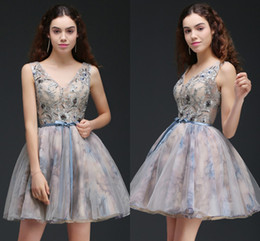 Wholesale Low V Neck Mini Dress - Printed New Designer Short Prom Dresses See Through Top V Neck Cocktail Party Gowns Lace Up Low Back Mini Short Homecoming Dress CPS667