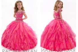 Wholesale Portrait Kid - 2016 Fuchsia Girls Pageant Dresses Fashion and Simple Portrait Girls Pageant Dresses Crystal Beadings Little Girl Ball Gown Big Kids