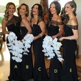 Wholesale Different Style Chiffon Bridesmaid Dresses - Cheap Black Mismatched Different Styles Bridesmaid Dresses Sheath Chiffon Sheer Neck 2017 Cheap Wedding Guest Dress Maid of Honor Gowns Plus