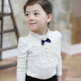 Wholesale Gauze T Shirt - Girls T-shirt kids hollow lace collar BOWS long sleeve princess tops children pearl gauze floral embroidery falbala bottoms blouses R0152