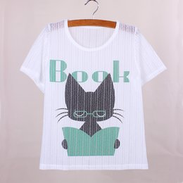 Wholesale Reading cat print girls tops tees fashion summer dress new fabric short sleeve women t shirts low price clothes