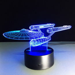 Wholesale Christmas Tree Night Lights - 2018 USS Enterprise 3D Optical Illusion Lamp Night Light DC 5V USB Charging AA Battery Wholesale Dropshipping Free Shipping