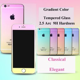 Pantalla de diamante 3d online-Lujo Shimmering Powder Screen Protector Gradiente Colorido Diamond Cut vidrio templado para Iphone5 Iphone6 ​​Iphone6plus con paquete al por menor