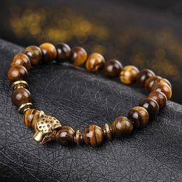Wholesale Leopard Agate - Natural Stone Lava Matte Tiger Eye Men and Women Bracelets Gold Color Leopard Head Bead Buddha Bracelet