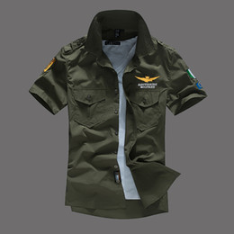 button down mens shirt Promo Codes - Mens Pilot Shirts Short Sleeved Casual Shirts Turn-Down Collar MA1 Plane Tops Fashion Tees Clothing