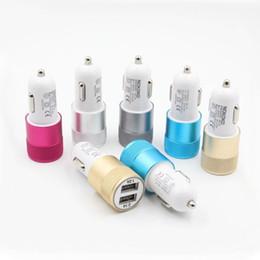 Wholesale Usb Car Adapter Colors - Dual Mental Car Charger Colorful Adapter USB Car Plug 5V 2 Ports Universal Car Plug 5 Colors No Package
