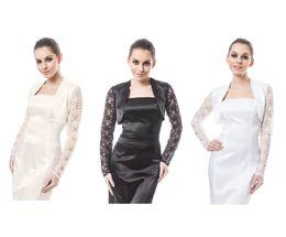 Wholesale Satin Long Sleeve Shrugs - New Wedding Satin Bolero Bridal Shrug Jacket - Lace Long Sleeve Top S M L XL XXL