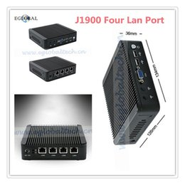 Wholesale Minipc Windows - Wholesale-New J1900 Mini PC Windows Nettop Htpc Barebone Mini Computer Intel J1900 2GHz Quad Core With Four Lan Port 4GB RAM 12V Minipc