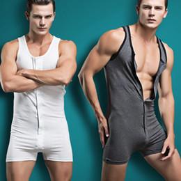 Wholesale Men Cotton Sleepwear - Wholesale-2016 new arrivel Men sexy Bodywear Bodysuit hot shapers men Sport Singlet male Sleepwear button Cotton Pajamas