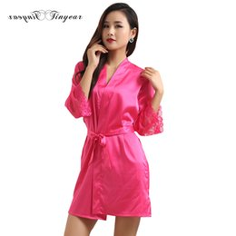 Wholesale Hot Dresses For Ladies Sexy - Wholesale- New hot satin kimono robes for women V neck long sleeve sexy lingerie ladies sleepwear dress nightdress multi color optional