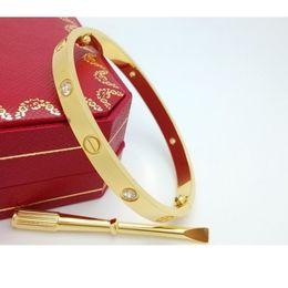 Wholesale Couple Bracelets Set - 316L Stainless Steel Couple Jewelry Screwdriver Love bracelets bangles for women Crystal rose gold men Screw bracelet Feminina Pulseira