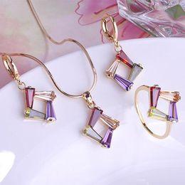 Wholesale Earrings Weding - Fashion Gorgeous Bijoux Zircon Aneis Wedding Jewelry Sets Gift Feminino Filled Gold Ouro Weding Jewelary Anel Conjunto De Joias