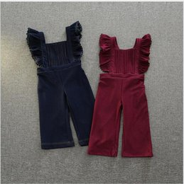 Wholesale Autumn Winter Overalls - Fashion 2016 Baby Girls Denim Ruffles Suspenders Kids Girls Autumn Winter Casual Overalls Babies Christmas Wholesale Trouser