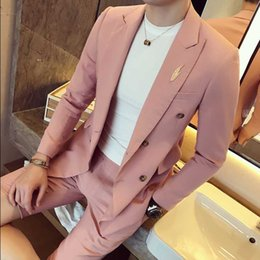 Wholesale Korea Hot Pants - Wholesale- New Fashion Hot Brand 2017 summer men's casual high quality solid easy care cotton suits male slim korea style blazer and pants