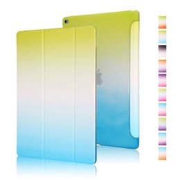 Wholesale One Piece Cases - Wholesale-2016 New One Piece Design Colorful Rainbow Grandual PU Leather Flip Case for iPad Air 2 Intelligent Smart Cover for iPad Air2