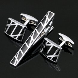 Wholesale Men Shirts Ties - Stainless Steel Black Cufflinks and Tie Clip Clasp Bar Set Gift Box Free Shipping For Men Gift French Shirt High Quality Z-015