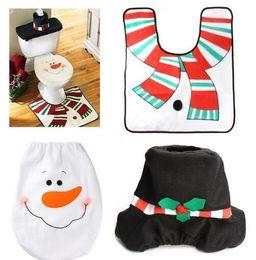 Wholesale Black Santa Ornaments - Christmas Decoration For Home Santa Toilet 3pcs lot Seat Cover & Rug Bathroom Se Santa Claus Christmas Ornament