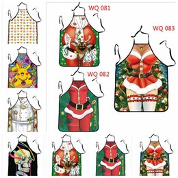 Wholesale Novelty Cooking Aprons - Aprons Halloween Decoration Christmas Emoji Home Cleaning Aprons Santa Claus Novelty Apron Women Kitchen Cooking BBQ Apron YYA664