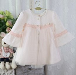 Wholesale Korean Style Coats For Girl - Autumn New Korean Style Baby Girls Jacket High Quality Kids Lace Tulle Long Sleeve Sweet Casual Coat 3 Colors Coats For Gils Outwear K7860