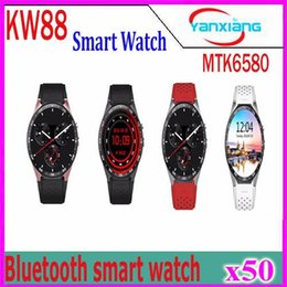 Wholesale Apple Wifi - KW88 3G WIFI GPS smart watch Android 5.1 OS MTK6580 CPU 1.39 inch Screen 2.0MP camera smartwatch for apple moto huawei 50pcs YX-KW-88