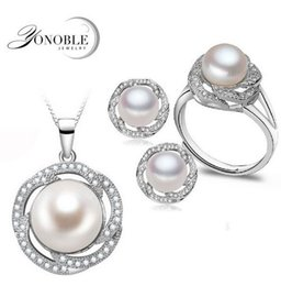 Wholesale Sterling Silver Freshwater Pearl Ring - Wedding freshwater pearl jewelry sets women bridesmaid jewelry sets luxury natural pearl earrings sets ring fine jewelry