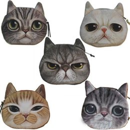 Wholesale Christmas Novelty Fabric - Novelty Girl 2015 Brand New Fashion Cartoon Cute Cat Face Zipper Case Coin Case Purse Wallet Makeup Buggy Bag Pouch