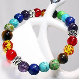 Wholesale Rainbow Spring Bracelet - Natural Lava Stone Bead Charm Bracelets Women 7 Reiki Chakra Bracelets Healing Balance Bracelet For Men Strand Rainbow Jewelry
