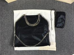 Wholesale Lighted Deer - DHL FALABELLA FOLD OVER shaggy deer tote bags women pvc 3chain shoulder bags 37cm*36cm*8cm Stella Mccartney big shopping tote chains 2 bags