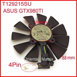Wholesale 28mm Ships - Wholesale- Free Shipping EVERFLOW T129215SU 12V 0.5A 88mm 28*28*28*28mm 4Pins For ASUS GTX980TI Graphics Card Cooler Cooling Fan