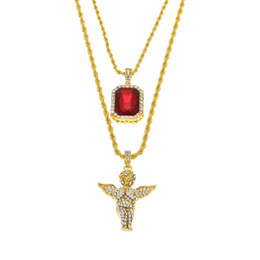 Wholesale Set Pendant 18k Gold - Mens Iced Out Ruby Jewelry Necklaces Set Brand Micro Ruby Angel esus Wing Pendant Hip Hop Necklace Male Wholesale