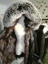 Wholesale Fur Coat Quality - Superior quality Sliver fox fur Mr and Mrs Furs Italy natural fox fur lining black parka snow coats MR MRS ITLAY canvas long coats