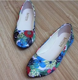 Wholesale Canvas Flower Korean Shoes - 2016 new spring flat shoes Korean tide flowers leisure shoes asakuchi large size FB0066