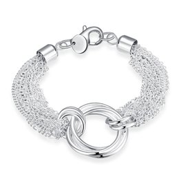 Wholesale Silver Chains Rolo Bracelets - Vogue shining Multi-line Three circles Bracelet simple silver ROLO style Lobster Clasps Chain Bracelet Christmas Gift 8 inches on wholesale