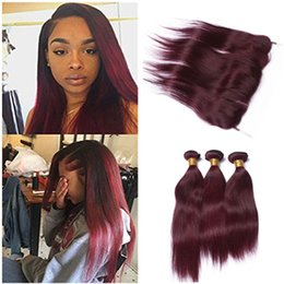 Wholesale Wine Hair Color - Virgin Brazilian Wine Red Human Hair Bundles with Lace Frontal Closure Silky Straight #99J Burgundy Ear to Ear 13x4 Lace Frontal with Weaves