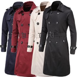 Wholesale Men S Belted Trench Coat - Wholesale- Men Trenchcoat British Style Classic Trench Coat Jacket Double Breasted Long Slim Outwear Adjustable Belt Leather Sleeve Belt