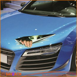 Wholesale Color Eye Stickers - New Funny Car Sticker 3D Eyes Peeking Monster Voyeur Car Hoods Trunk Thriller Rear Window Decal hot selling
