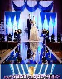 Wholesale Wedding Mirrors Party Favors Wholesale - 12m Per lot 1m Wide Shine Silver Mirror Carpet Aisle Runner For Romantic Wedding Favors Party Decoration free shipping MYY