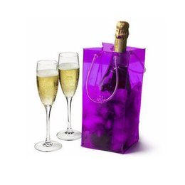 Wholesale Plastic Wine Holder - 100pcs Hot Sale Wine Cooling Ice Bag PVC Bottle Beer Holder Gift Bags Red Wine Ice Bag For Outdoor Beach Party ZA0732