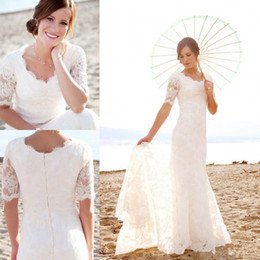 Wholesale Vintage Bridal Gowns For Sale - 2016 Modest Short Sleeves Wedding Dresses with Pearls For Beach Garden Elegant Brides Hot Sale Cheap Lace Mermaid Bridal Gowns Vestidos New